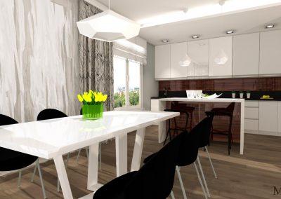 w aranżacji wnętrza salonu połaczonego z kuchnią możemy zobaczyć jasne meble połączone z ciemnymi krzesłami