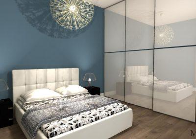 Projekt sypialni, w środku wygodne, szerokie łóżko
