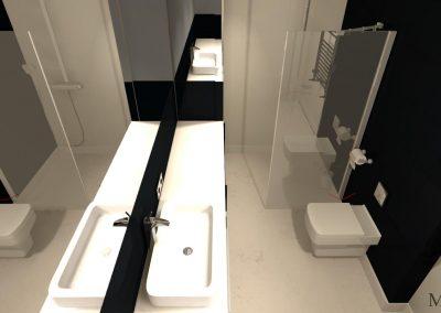 Widok z góry na wnętrze łazienki
