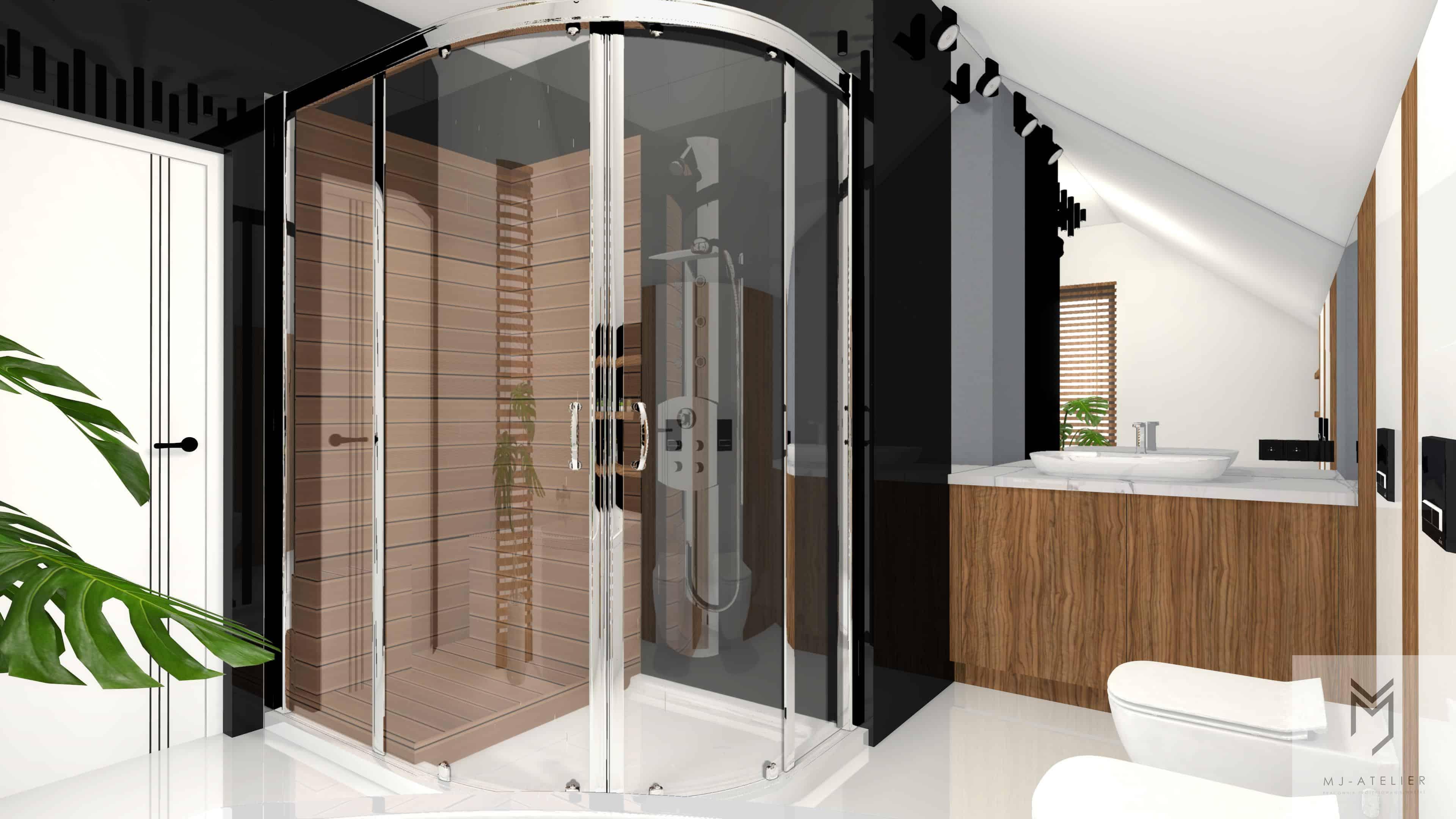 Łazienka z odważną podłogą   MJ Atelier